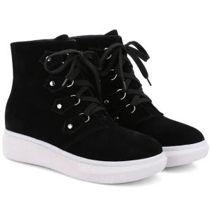 Metal Lace-Up Suede Ankle Boots -