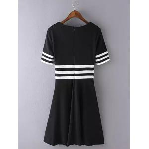 Striped Patchwork Swing Dress - WHITE AND BLACK S