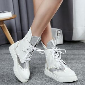 Platform Engraving Tie Up Short Boots - SILVER/WHITE 39