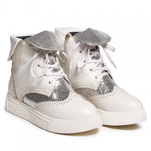 Platform Engraving Tie Up Short Boots - SILVER AND WHITE 39