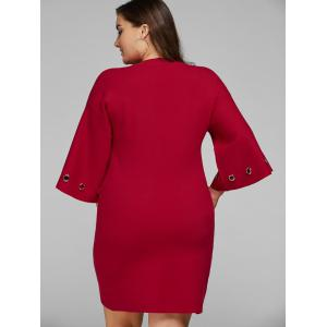 Bell Sleeve Plus Size Knitted Dress -