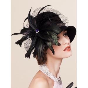 Charming Feather Ribbon Band Bowler Hat -