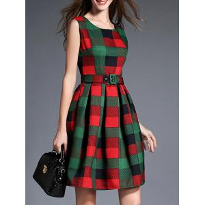 Checked Thick Belted Fit and Flare Dress - GREEN XL