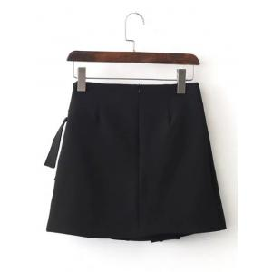 Lace-Up A Line Mini Skirt - BLACK L