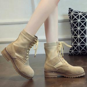 Flat Heel Splicing Tie Up Short Boots -