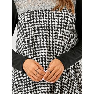 Lace Patchwork Houndstooth Asymmetrical Dress -