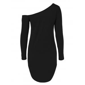 Skew Neck Long Sleeve Short Dress - BLACK XL