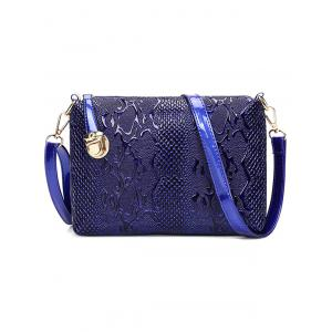 Emossed Metallic Letter Shoulder Bag - BLUE