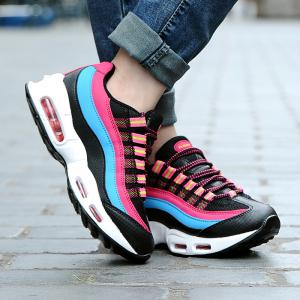 Breathable Colour Spliced Lace-Up Athletic Shoes - BLACK/ROSE RED 40