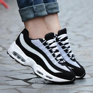 Breathable Colour Spliced Lace-Up Athletic Shoes - WHITE/BLACK 37