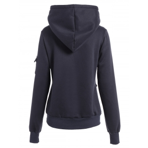 Fashionable Irregular Hooded Solid Color Buttoned Hoodie For Women - DEEP BLUE L