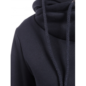 Fashionable Irregular Hooded Solid Color Buttoned Hoodie For Women -