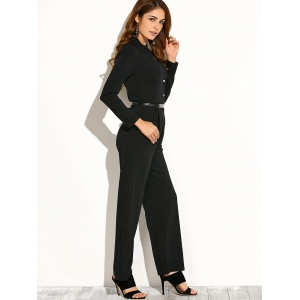 Long Sleeve Low Cut Jumpsuit -