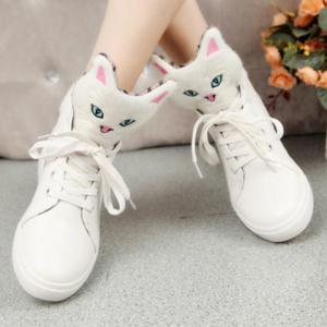 Cartoon Cat Lace-Up PU Leather Boots -