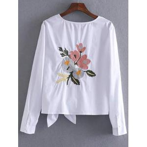 Bowknot Embellished Embroidery Blouse - WHITE L