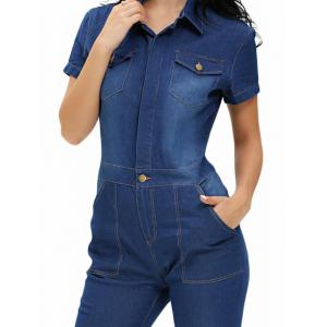 Buttoned Pocket Design Denim Jumpsuit - DENIM BLUE S