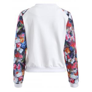 Casual Flowers Print Sleeve Short Baseball Jacket -