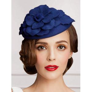 Wool Layered Floral Cocktail Hat - BLUE