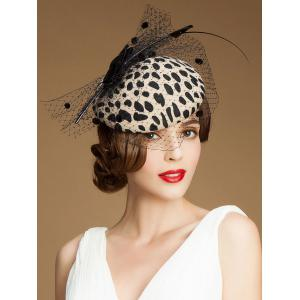 Leopard Print Bow Feather Mash Cocktail Hat -