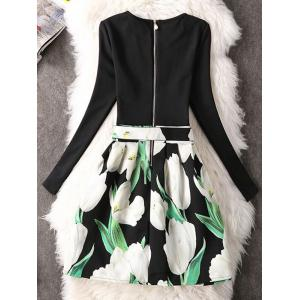Long Sleeve Floral A-Line Dress - WHITE S