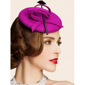 Wool Spiral Band Feather Cocktail Hat -
