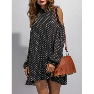 Cold Shoulder Sleeve Polka Dot Dress -