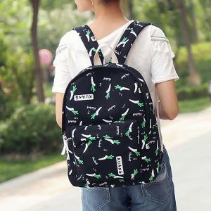 Foods Printed Canvas Backpack - Noir
