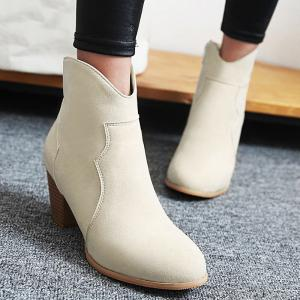 Suede Zip Chunky Heel Ankle Boots - OFF WHITE 39