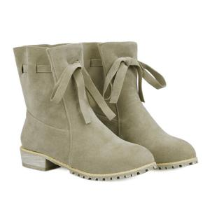 Lace Up Flat Heel Suede Short Boots - KHAKI 40