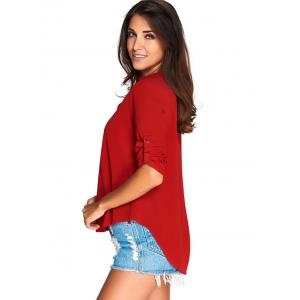 V-Neck Asymmetrical Loose-Fitting Blouse - RED 2XL