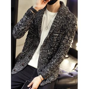 Shawl Collar Cable Knitted Cardigan - BLACK 3XL