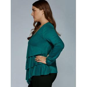 Plus Size Layered Blouse - DEEP GREEN 2XL
