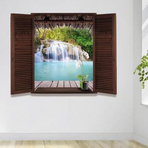 Waterfall Scenery Window Design 3D Wall Stickers - COLORMIX