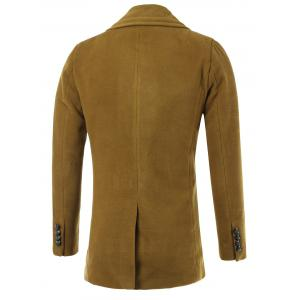 Geometric Turn-Down Collar Single-Breasted Wool Coat -