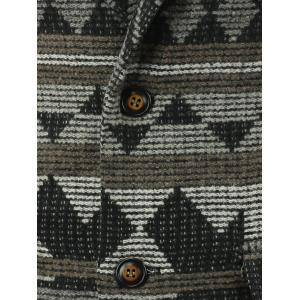 Geometric Pattern Lapel Single-Breasted Wool Coat -