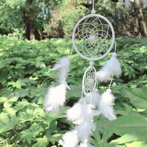 Double Circular Net With Feathers Dreamcatcher Wall Hanging Decor - WHITE