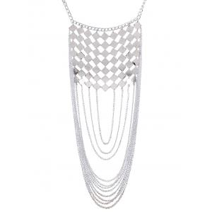 Layered Square Paillettes Chain Necklace -