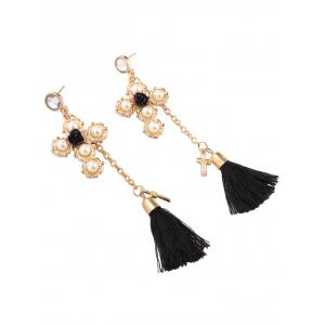 Faux Pearl Crucifix Rose Tassel Earrings -