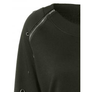 Zippered Crew Neck Sweatshirt -