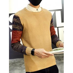 Ribbed Knitted Round Neck Color Block Sweater -