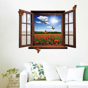 3D Stereo Removable Countryside Scenery Window Design Wall Stickers -