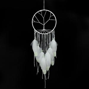 Fluorescent Circular Net With Feathers Dreamcatcher Wall Hanging Decor - WHITE