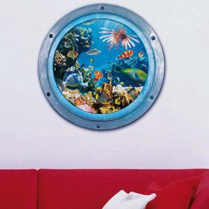 3D Stereo Sea World Toilet Home Decor Wall Stickers - BLUE