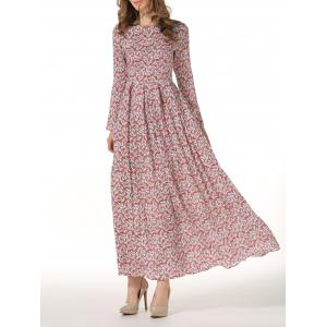 Round Neck Long Sleeve Floral Maxi Dress -