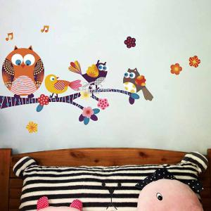 Cartoon Owl Removable Animal Nursery Wall Stickers - COLORFUL