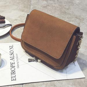 Chain PU Leather Covered Closure Crossbody Bag - BROWN