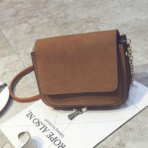 Chain PU Leather Covered Closure Crossbody Bag -