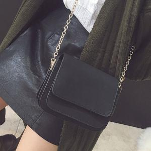 Chain PU Leather Covered Closure Crossbody Bag - BLACK