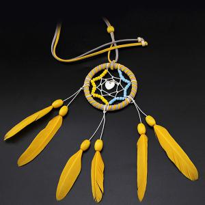 Hot Selling Circular Net With Feathers Loving Heart Dreamcatcher Wall Hanging Decor - BLUE/YELLOW