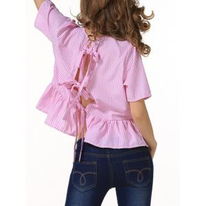 Loose Back Tie Stripe Flouncing Blouse - RED L